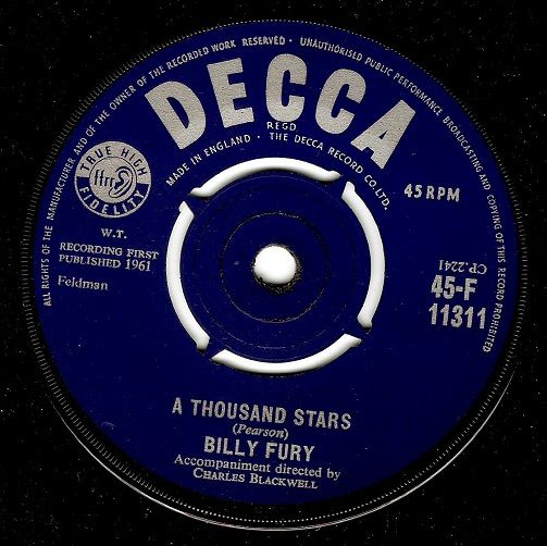 BILLY FURY A Thousand Stars Vinyl Record 7 Inch Decca 1961