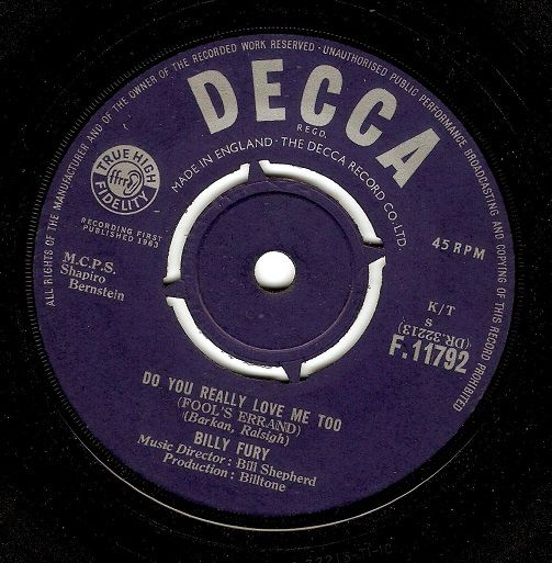 BILLY FURY Do You Really Love Me Too Vinyl Record 7 Inch Decca 1963