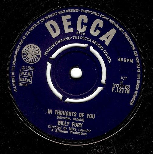 BILLY FURY In Thoughts Of You Vinyl Record 7 Inch Decca 1965