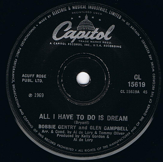 "BOBBIE GENTRY AND GLEN CAMPBELL All I Have To Do Is Dream 7"" Single Vinyl Record 45rpm Capitol 1969"
