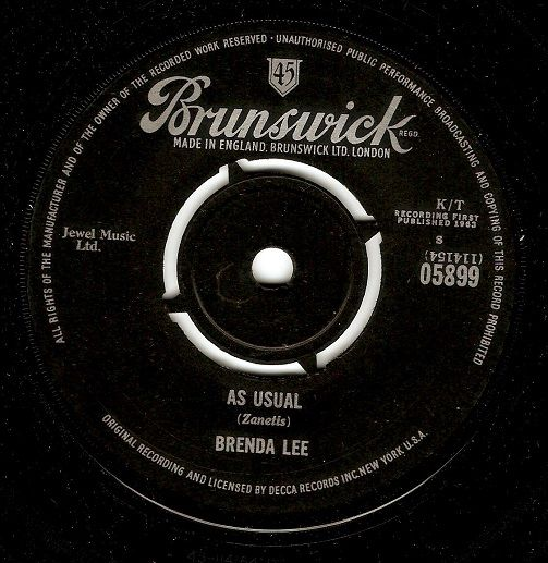 Brenda Lee As Usual Vinyl 7 Inch | Planet Earth Records