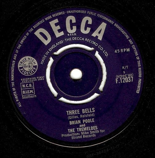 Brian Poole and the Tremeloes Three Bells Vinyl 7 Inch | Planet Earth Records