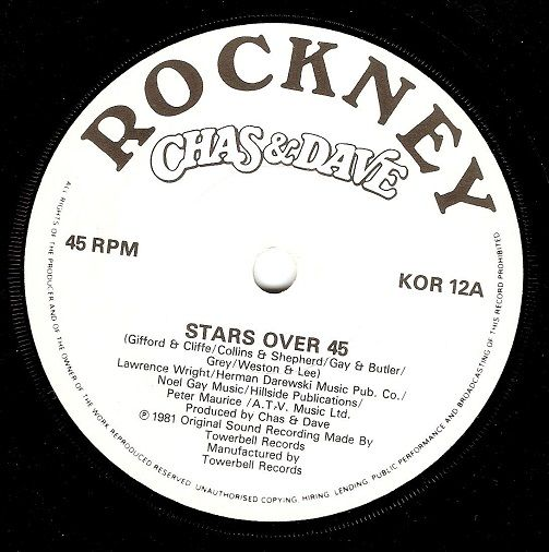 CHAS AND DAVE Stars Over 45 Vinyl Record 7 Inch Rockney 1981