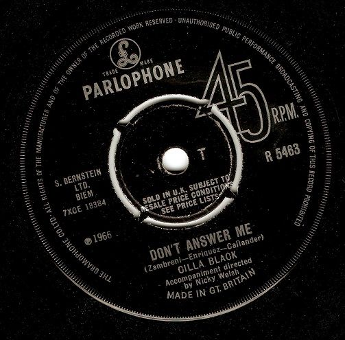 CILLA BLACK Don't Answer Me Vinyl Record 7 Inch Parlophone 1966