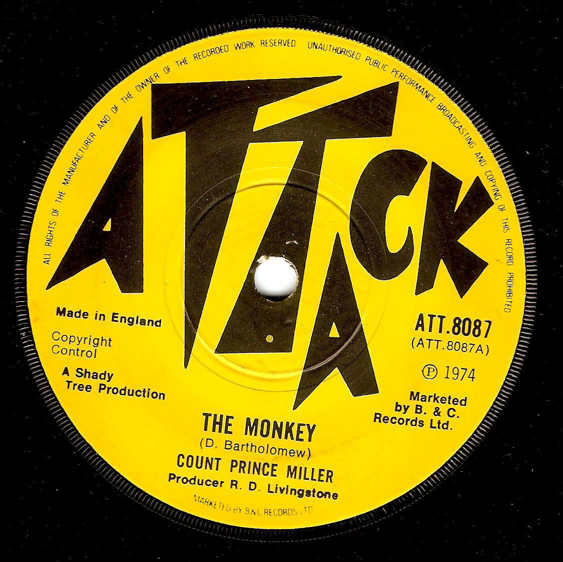 Count Prince Miller The Monkey Vinyl Record 7 Inch Attack 1974