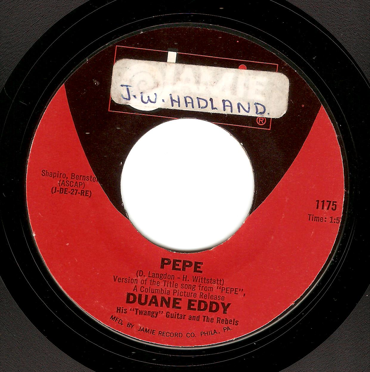 DUANE EDDY Pepe Vinyl Record 7 Inch US Jamie 1961