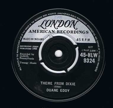 "DUANE EDDY Theme From Dixie 7"" Single Vinyl Record 45rpm London 1959"