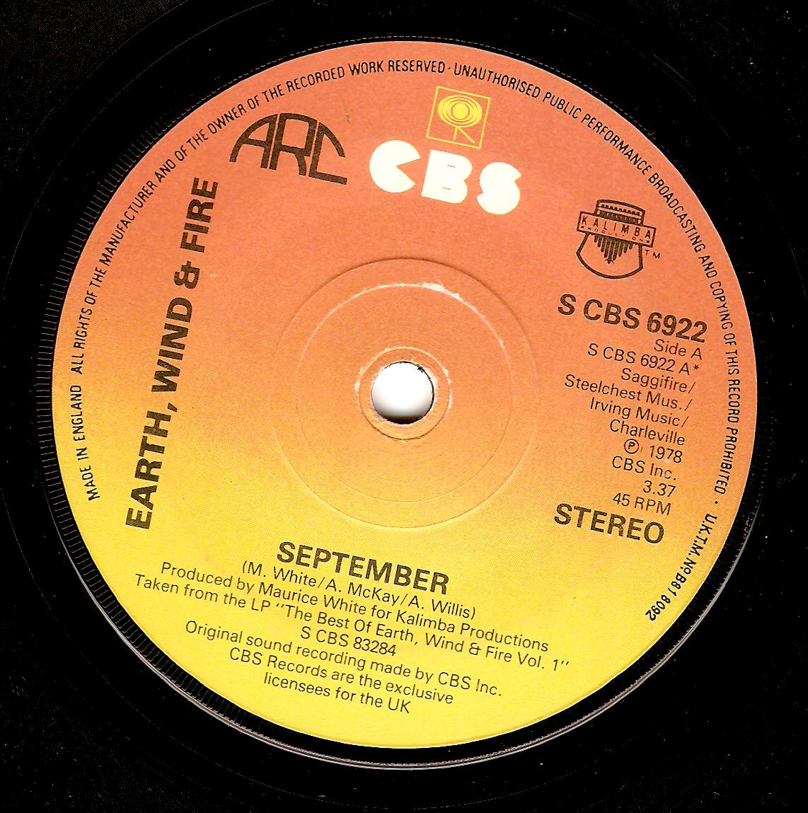 Earth Wind And Fire September Vinyl Record 7 Inch Cbs 1978