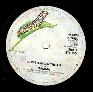 GAMMA Something In The Air Vinyl Record 7 Inch Elektra 1980