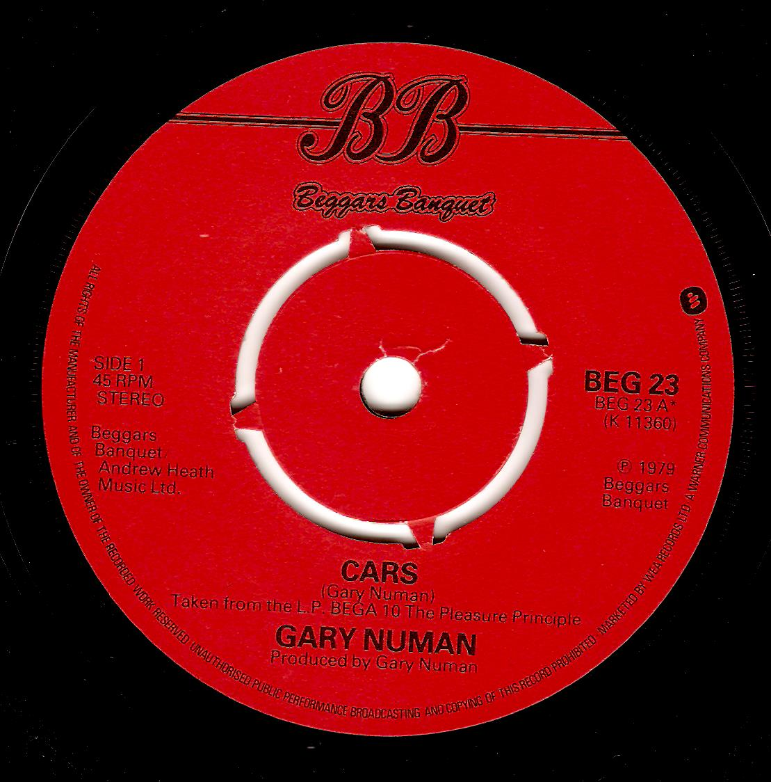 GARY NUMAN Cars Vinyl Record 7 Inch Beggars Banquet 1979