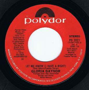 "GLORIA GAYNOR Let Me Know (I Have A Right) 7"" Single Vinyl Record 45rpm US Polydor 1979"