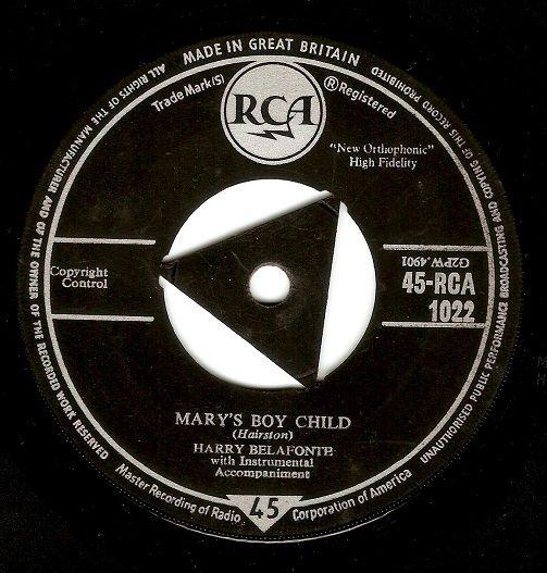 HARRY BELAFONTE Mary's Boy Child Vinyl Record 7 Inch RCA 1958