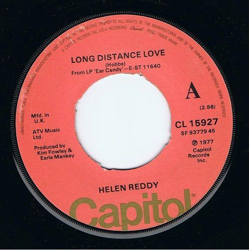 HELEN REDDY Long Distance Love Vinyl Record 7 Inch Capitol 1977