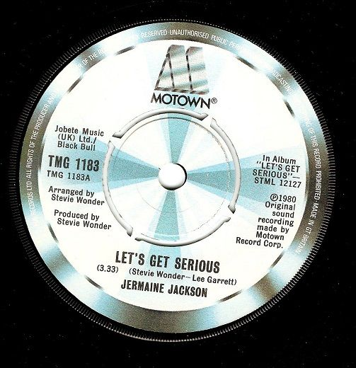 JERMAINE JACKSON Let's Get Serious Vinyl Record 7 Inch Motown 1980