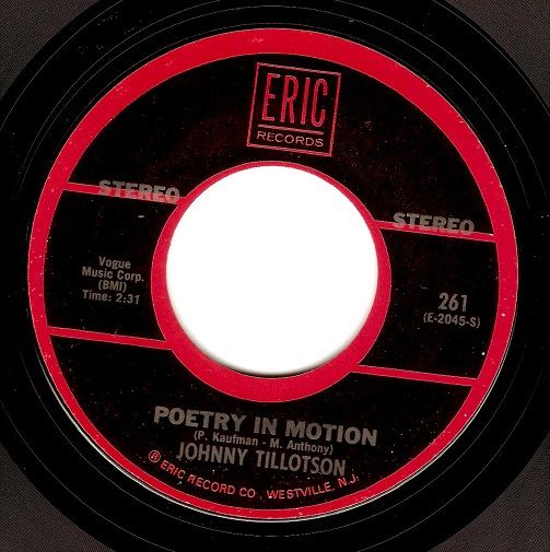 JOHNNY TILLOTSON Poetry In Motion Vinyl Record 7 Inch US Eric