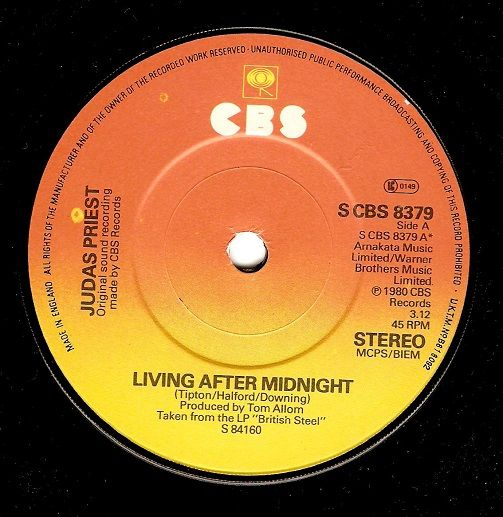 JUDAS PRIEST Living After Midnight Vinyl Record 7 Inch CBS 1980