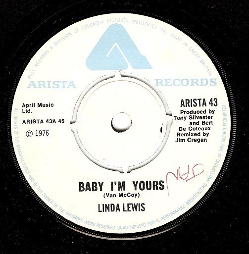 LINDA LEWIS Baby I'm Yours Vinyl Record 7 Inch Arista 1976