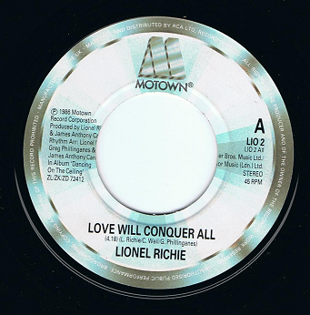 "LIONEL RICHIE Love Will Conquer All 7"" Single Vinyl Record 45rpm LIO 2 Motown 1986"