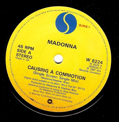 MADONNA Causing A Commotion Vinyl Record 7 Inch Sire 1987.