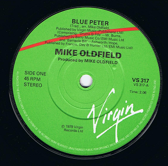 "MIKE OLDFIELD Blue Peter 7"" Single Vinyl Record 45rpm Virgin 1979"