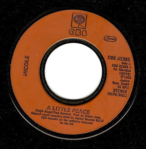 NICOLE A Little Peace Vinyl Record 7 Inch CBS 1982