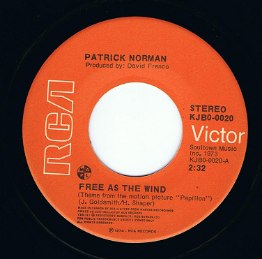 "PATRICK NORMAN Free As The Wind 7"" Single Vinyl Record 45rpm Canadian RCA Victor 1974"