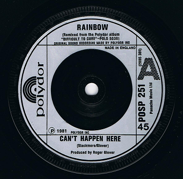 "RAINBOW Can't Happen Here 7"" Single Vinyl Record 45rpm Polydor 1981"