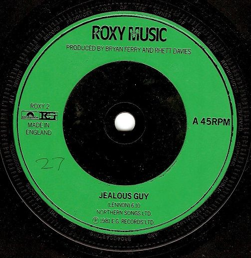ROXY MUSIC Jealous Guy Vinyl Record 7 Inch Polydor 1981