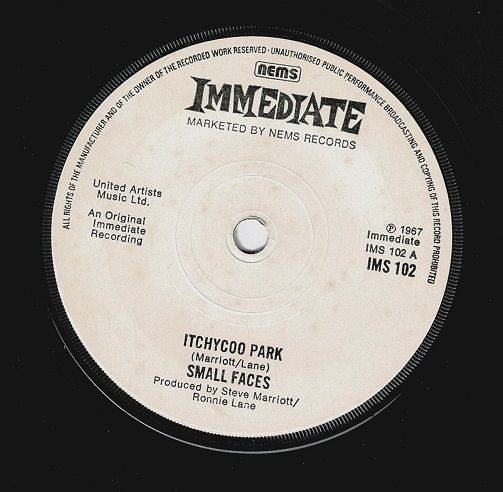 SMALL FACES Itchycoo Park Vinyl Record 7 Inch Immediate 1975