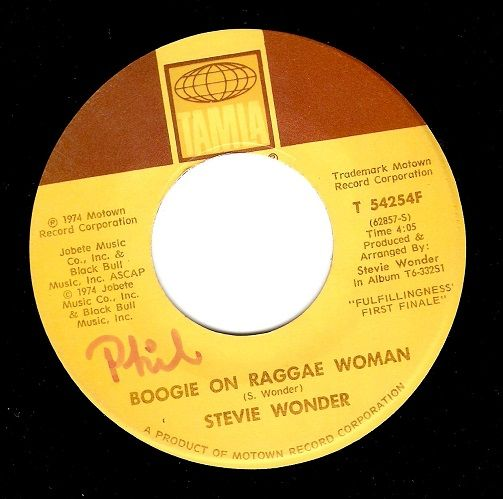 STEVIE WONDER Boogie On Reggae Woman Vinyl Record 7 Inch US Tamla 1974