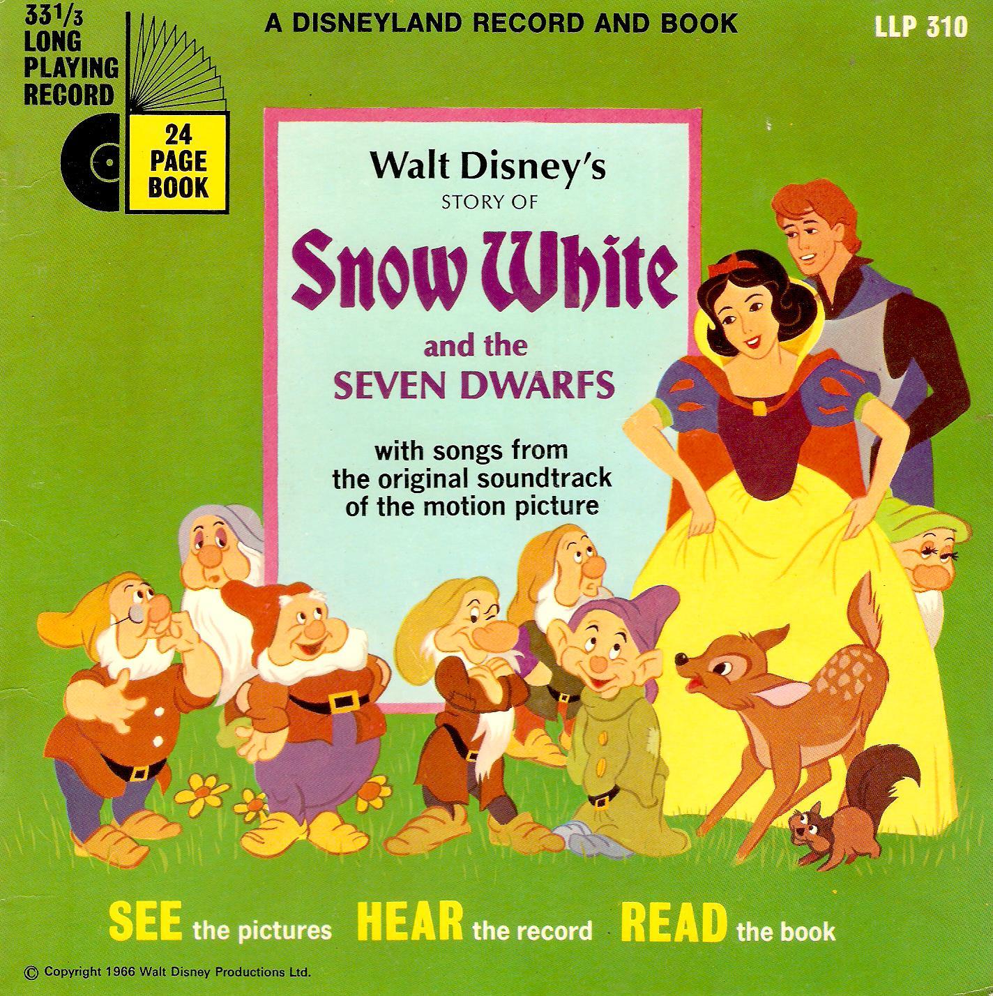 Story Of Snow White And The Seven Dwarfs Vinyl Record 7 Inch Disneyland 1969