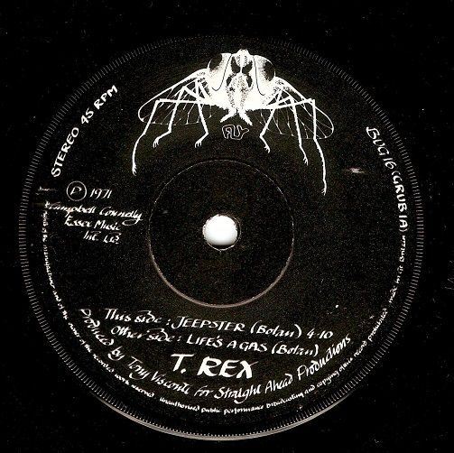 T Rex Jeepster Vinyl Record 7 Inch Fly 1971