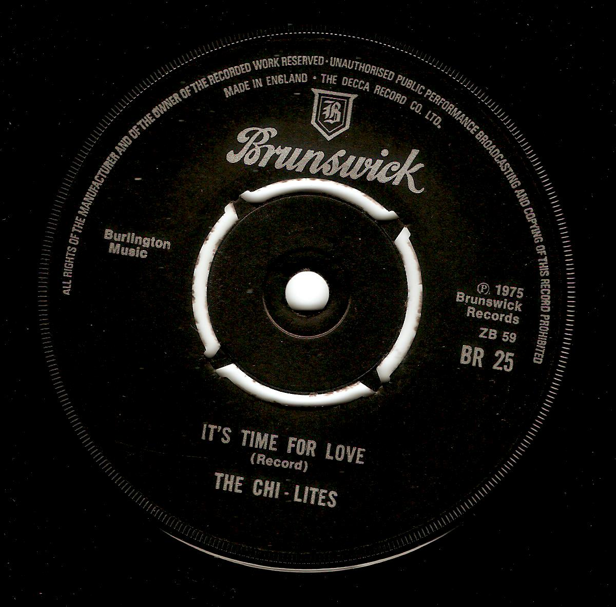 The Chi Lites It S Time For Love Vinyl Record 7 Inch Brunswick 1975