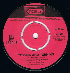 "THE IVY LEAGUE Tossing And Turning 7"" Single Vinyl Record 45rpm Piccadilly 1965"
