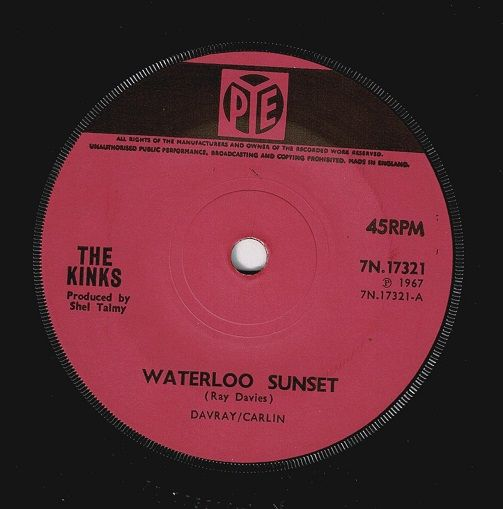 THE KINKS Waterloo Sunset Vinyl Record 7 Inch Pye 1967