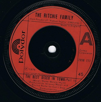 The Ritchie Family The Best Disco In Town Vinyl Record 7