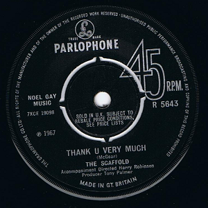 "THE SCAFFOLD Thank U Very Much 7"" Single Vinyl Record 45rpm Parlophone 1967"