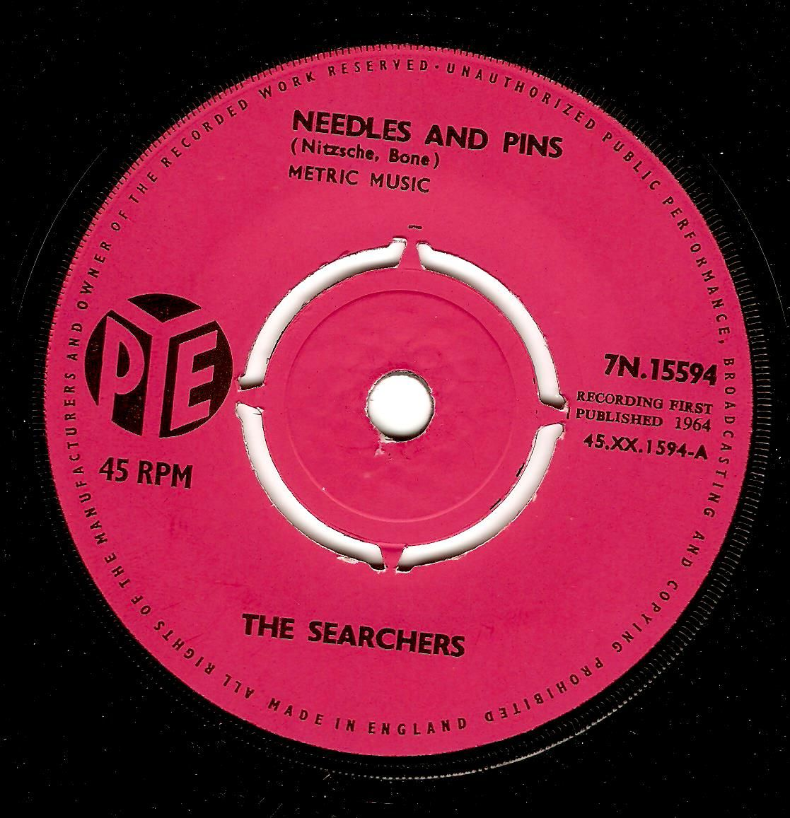 The Searchers Needles And Pins Vinyl Record 7 Inch Pye 1964