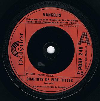 "VANGELIS Chariots Of Fire 7"" Single Vinyl Record 45rpm Polydor 1981"