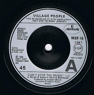 "VILLAGE PEOPLE Can't Stop The Music 7"" Single Vinyl Record 45rpm French Mercury 1980"
