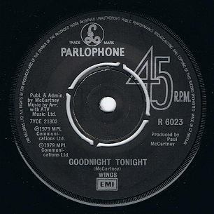 WINGS (PAUL McCARTNEY) Goodnight Tonight Vinyl Record 7 Inch Parlophone 1979